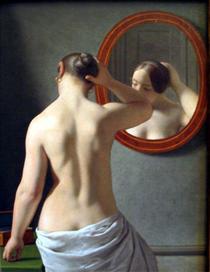 Frau vor dem Spiegel - Christoffer Wilhelm Eckersberg