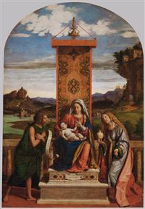 Madonna and Child with St. John the Baptist and Mary Magdalene - Cima da Conegliano