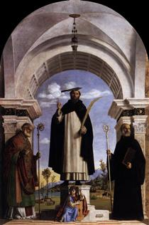 St. Peter Martyr with St. Nicholas of Bari, St. Benedict and an Angel Musician - Cima da Conegliano