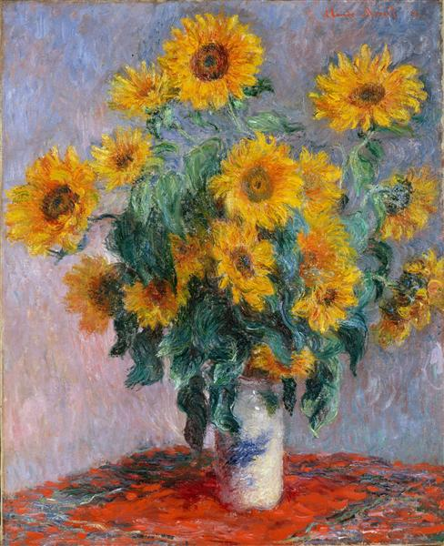 Impressionism Monet Sunrise Bouquet of Sunflowers,...