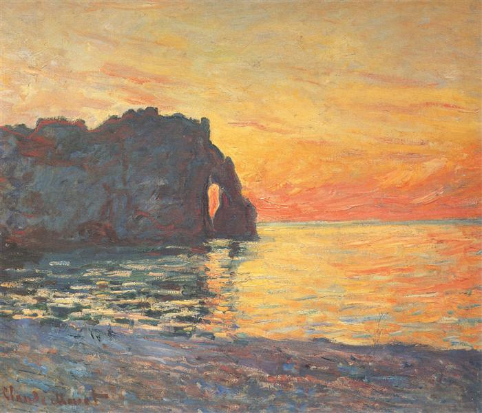 Etretat, Cliff of d`Aval, Sunset, 1885 - Claude Monet