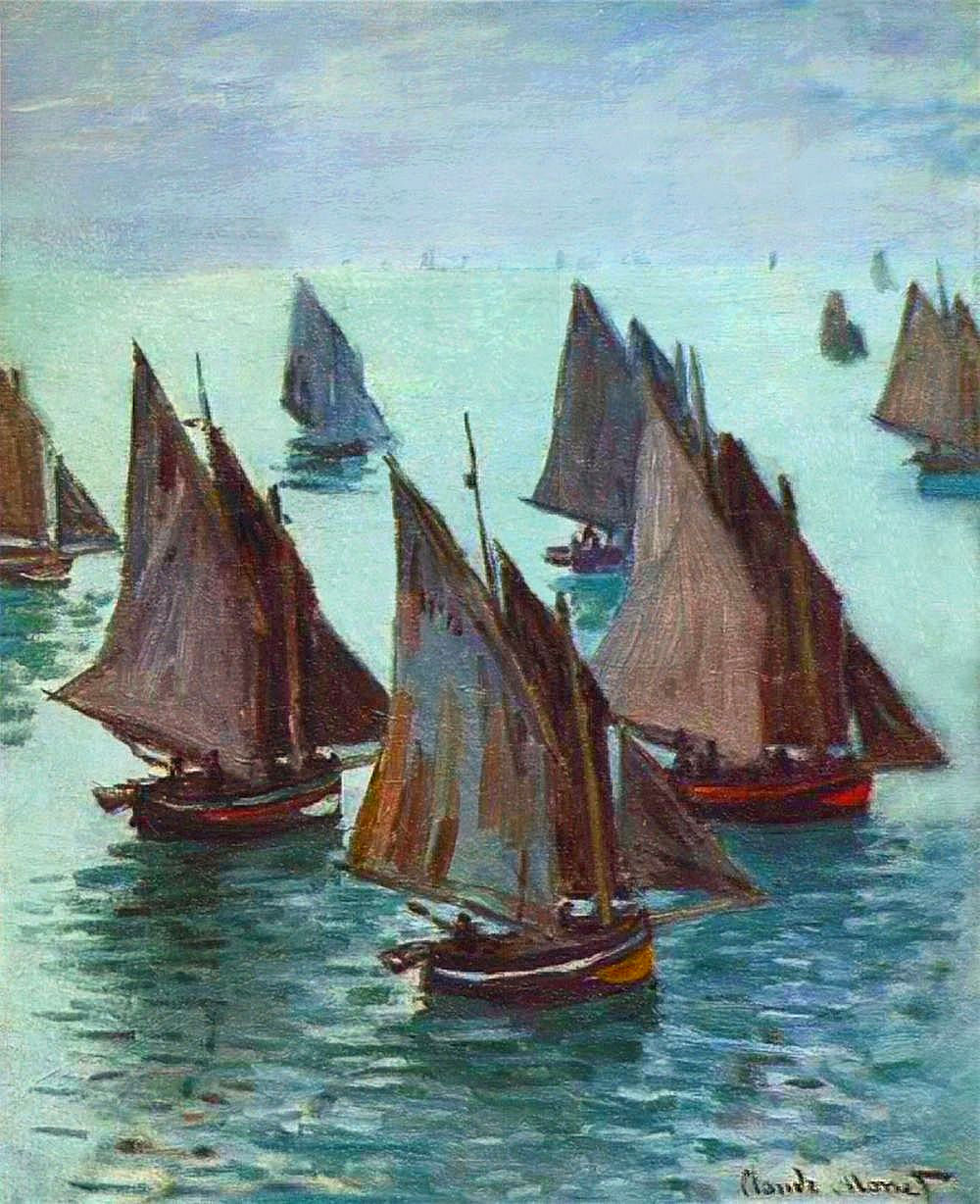 Fishing boats calm sea claude monet for Fishing boat painting