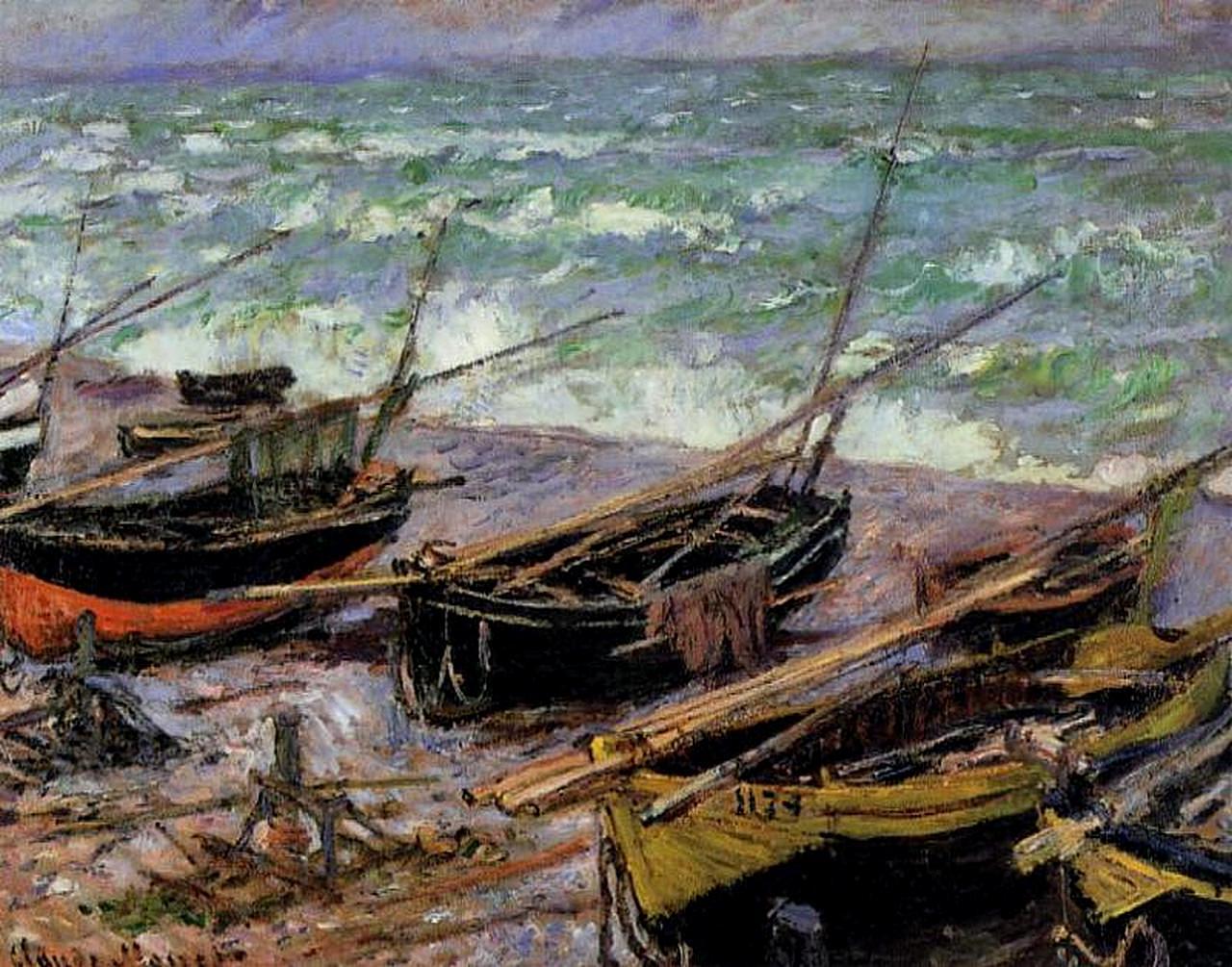 Рыбацкие лодки - Море в живописи ( морские пейзажи, seascapes ) фото.