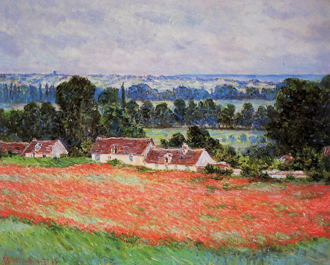 Monet Landscape Field Poppy Field at Giverny...