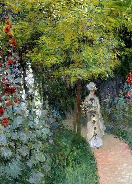 The Garden, Hollyhocks, 1877 - Claude Monet