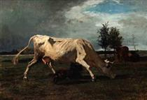 Cow chased by a dog - Констан Труайон