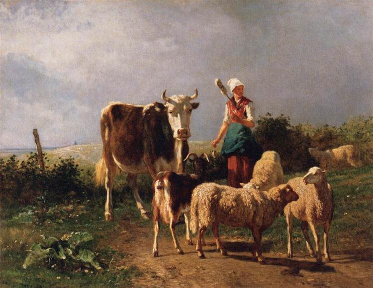 Return of the Herd, c.1860 - Constant Troyon