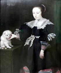 Portrait of an eleven year old girl with a dog, dressed in Spanish fashion - Корнелис де Вос