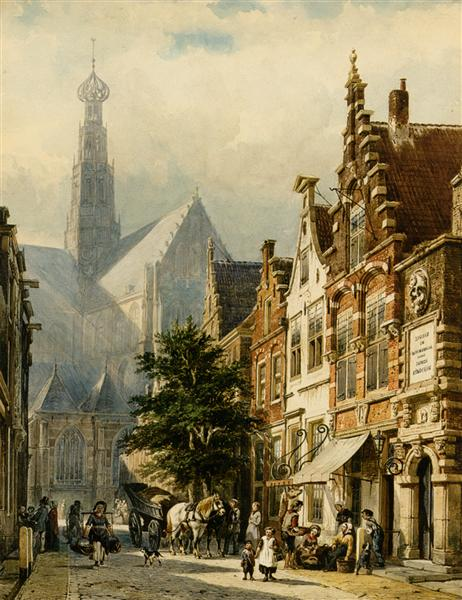 Many figures in the streets of Haarlem, 1870 - Cornelis Springer
