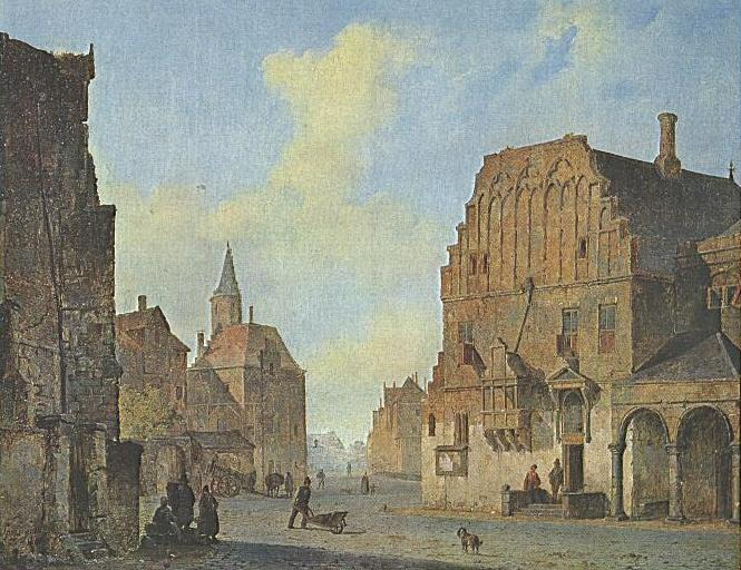 View of the old town hall in Arnhem, with fantasy elements, 1840 - Cornelis Springer