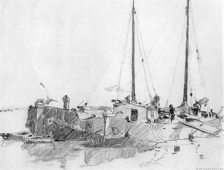 Docked Boats - Корнелис Вреденбург