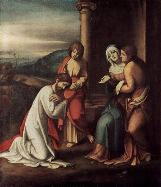 Departure of Christ from Mary, with Mary and Martha, the sisters of Lazarus, 1517 - 1518 - Le Corrège