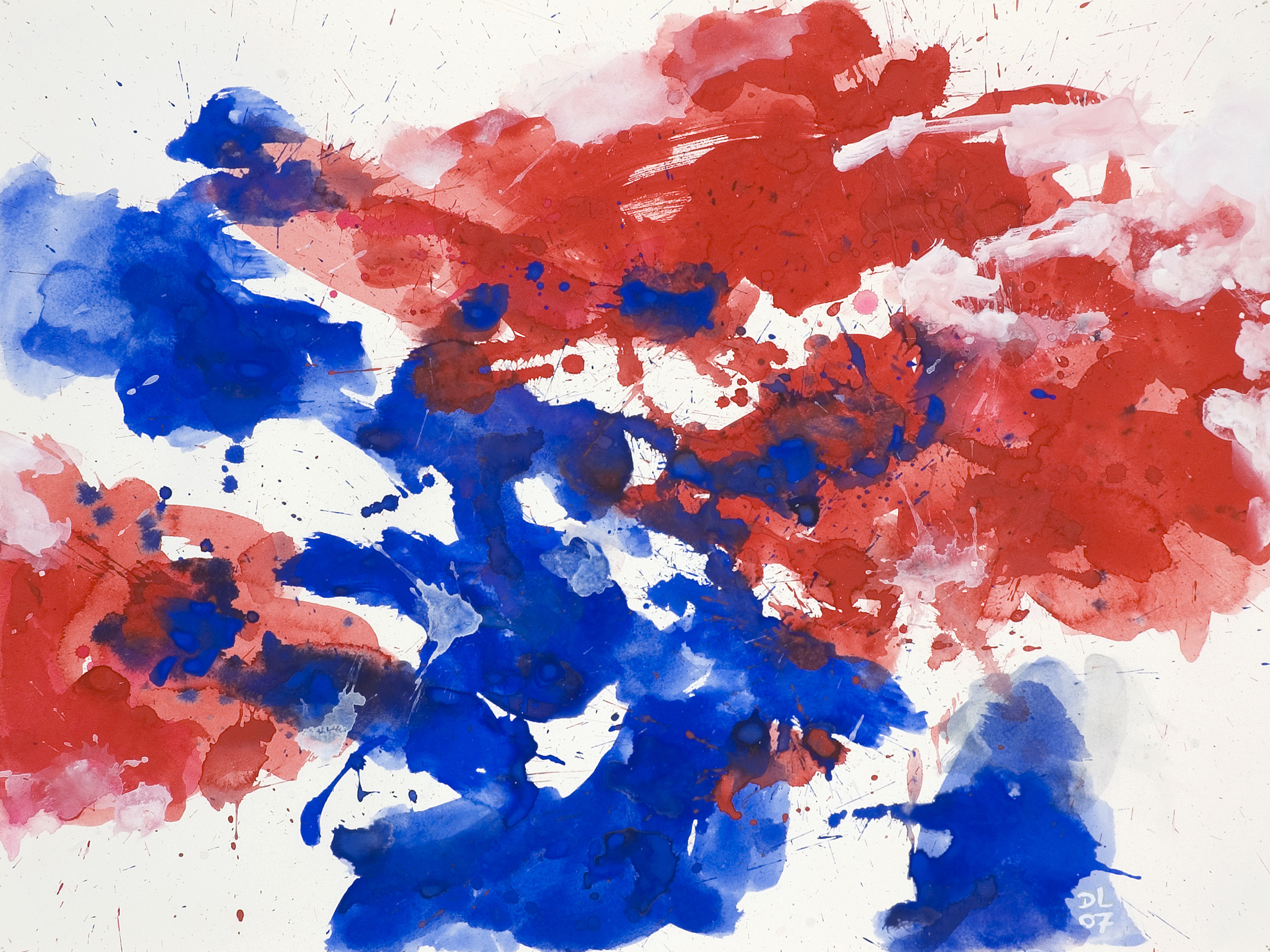 39 red blue 39 abstract watercolor painting on paper nr. Black Bedroom Furniture Sets. Home Design Ideas