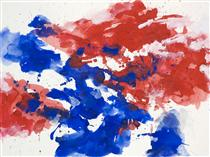 'Red & Blue' - abstract watercolor painting on paper - nr. G 622 - Daan Lemaire