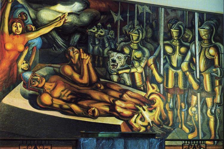 The torment of cuauhtemoc 1950 david alfaro siqueiros for El mural de siqueiros