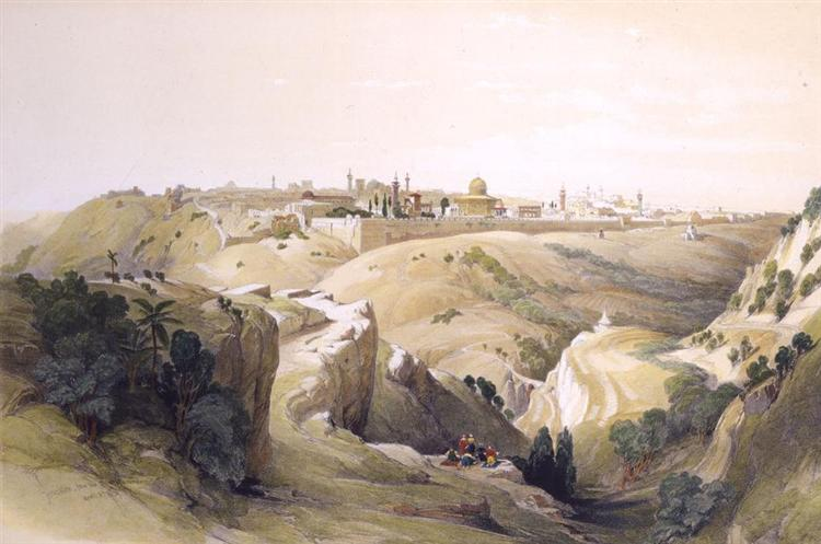 Jerusalem from the Road Leading to Bethany, 1833 - David Roberts