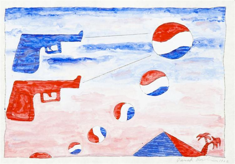 Untitled (5 Pepsi's and Sun 2 Guns), 1962 - Derek Boshier