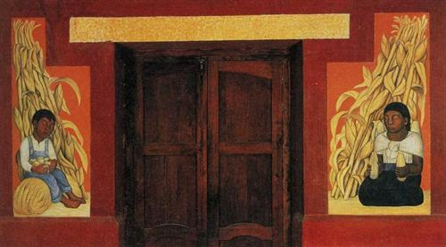 Indian Boy and Indian Woman with Corn Stalks - Diego Rivera