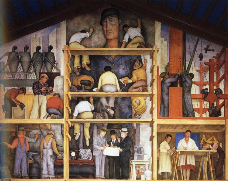 The making of a fresco showing the building of a city for Diego rivera mural san francisco
