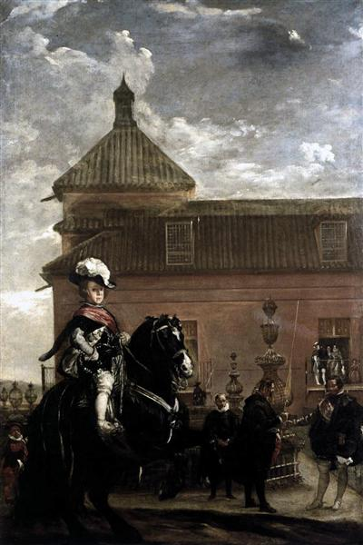 Prince Baltasar Carlos with the Count Duke of Olivares at the Royal Mews, c.1636 - Diego Velazquez
