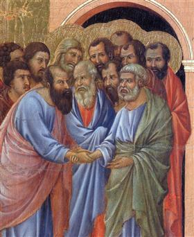 The arrival of the apostles to the Virgin (Fragment) - Duccio