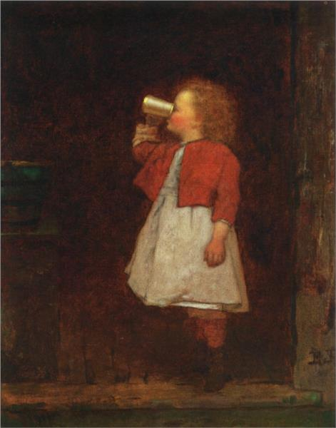 Little Girl with Red Jacket Drinking from Mug - Eastman Johnson