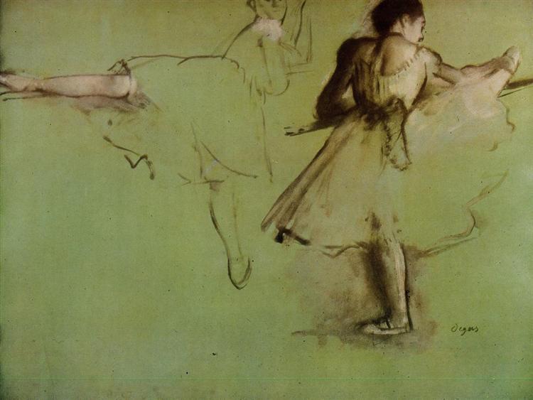 Dancers at the Barre (study), 1876 - 1877 - Edgar Degas