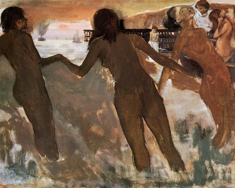 Peasant Girls Bathing in the Sea at Dusk, c.1875 - Edgar Degas