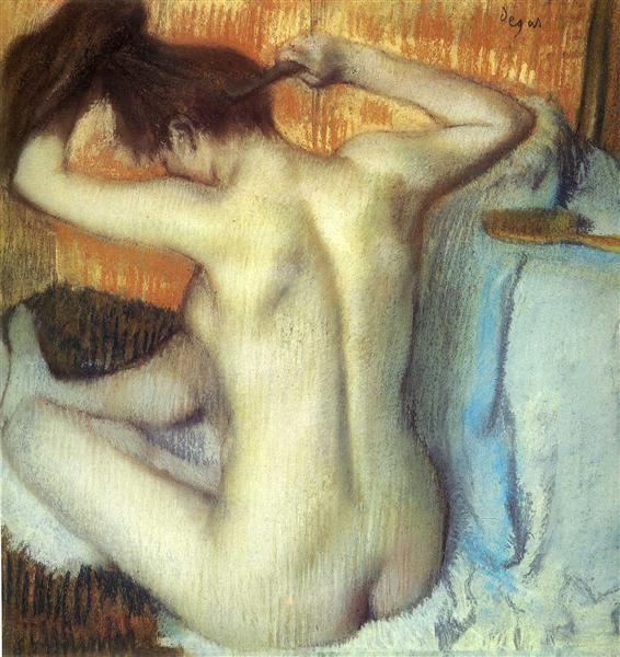 Woman Combing Her Hair, 1885 - Edgar Degas