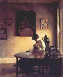 Girl Crotcheting - Edmund Charles Tarbell