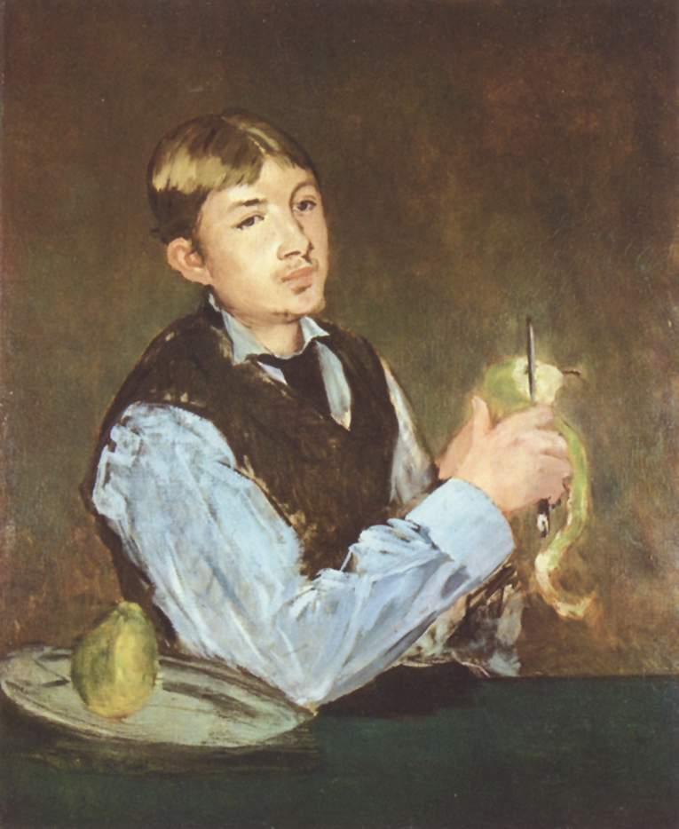 Young man peeling a pear portrait of leon leenhoff