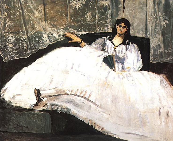 Jeanne Duval, Baudelaire's Mistress, Reclining (Lady with a Fan), 1862 - Edouard Manet