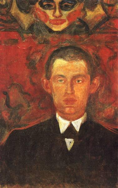 Self-Portrait Beneath Woman's Mask, 1891 - 1892 - Edvard Munch
