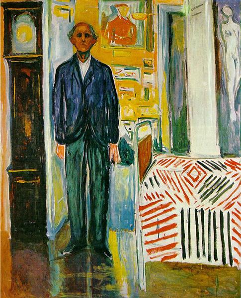 Self-portrait. Between the clock and the bed, 1940 - 1943 - Edvard Munch