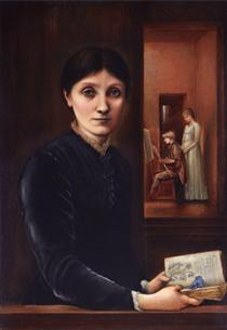 Georgiana Burne Jones, their children Margaret and Philip in the background - Edward Burne-Jones