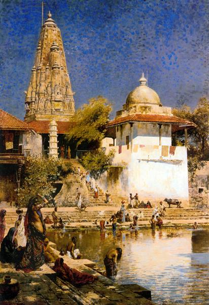 The Temple and Tank of Walkeschwar at Bombay - Edwin Lord Weeks