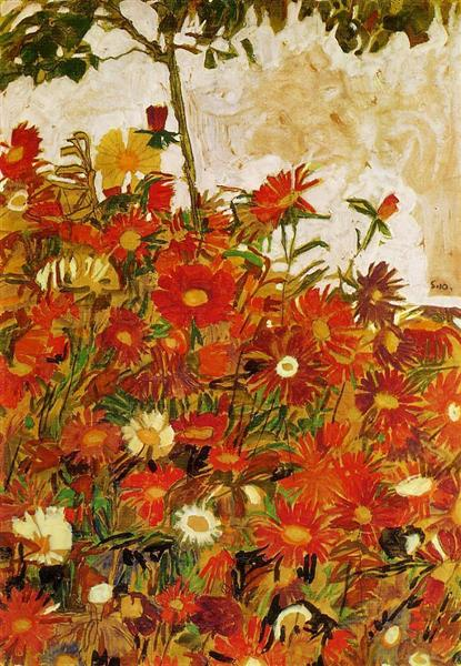 Field of Flowers, 1910 - Egon Schiele