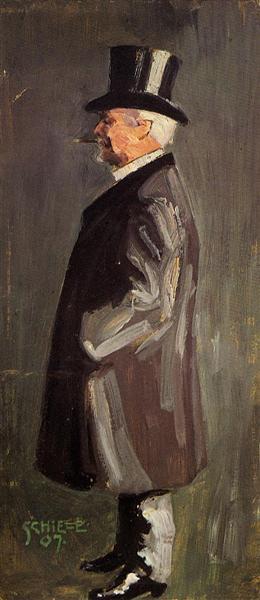 Portrait of Leopold Czihaczek, in Profile Facing Left - Egon Schiele