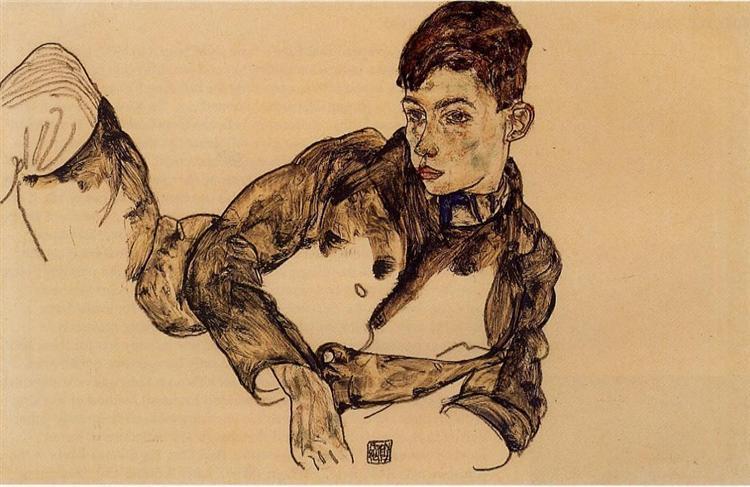 Reclining Boy Leaning on His Elbow, 1917 - Эгон Шиле