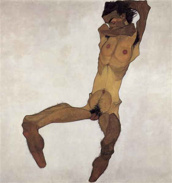 Seated male Nude (Self-Portrait), 1910 - 席勒