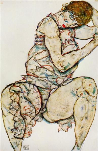 Seated Woman with Her Left Hand in Her Hair, 1914 - Egon Schiele
