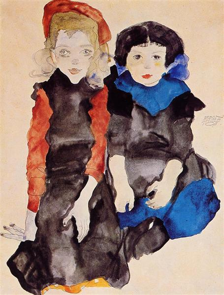 Two Little Girls, 1911 - Egon Schiele