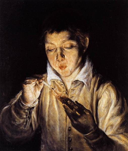 A boy blowing on an ember to light a candle, c.1570 - El Greco