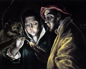 Allegory, boy lighting candle in the company of an ape and a fool - Fábula - El Greco