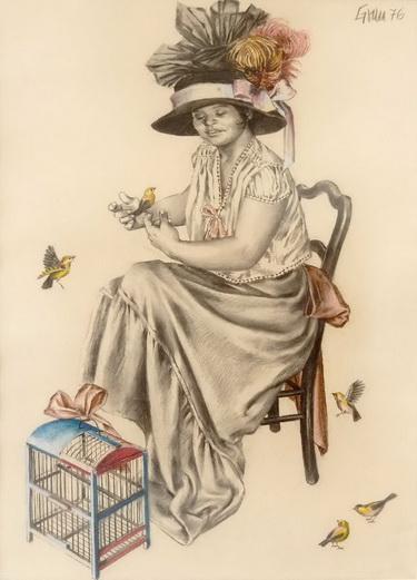 Mujer con pájaros, 1976 - Enrique Grau