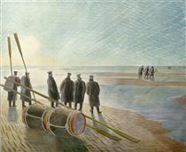 Dangerous work at low tide - Eric Ravilious