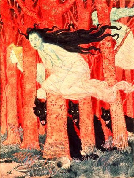 Three Women and Three Wolves - Eugène Grasset
