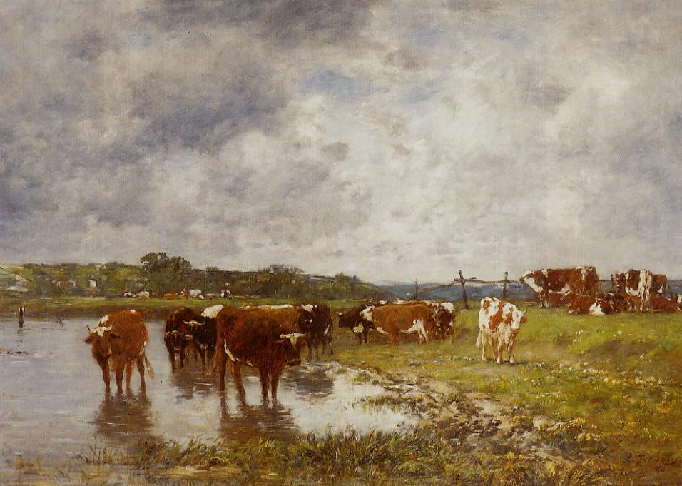 Cows in a Meadow on the Banks of the Toques, 1880