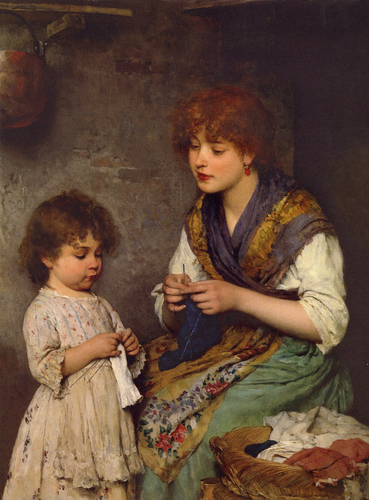 Knitting Artist : The knitting lesson eugene de blaas wikiart