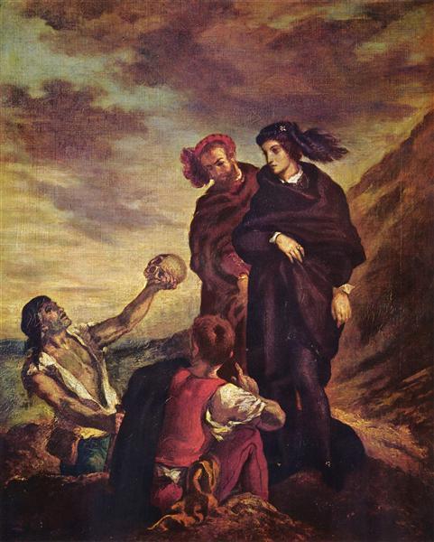Hamlet and Horatio in the cemetery - Delacroix Eugene
